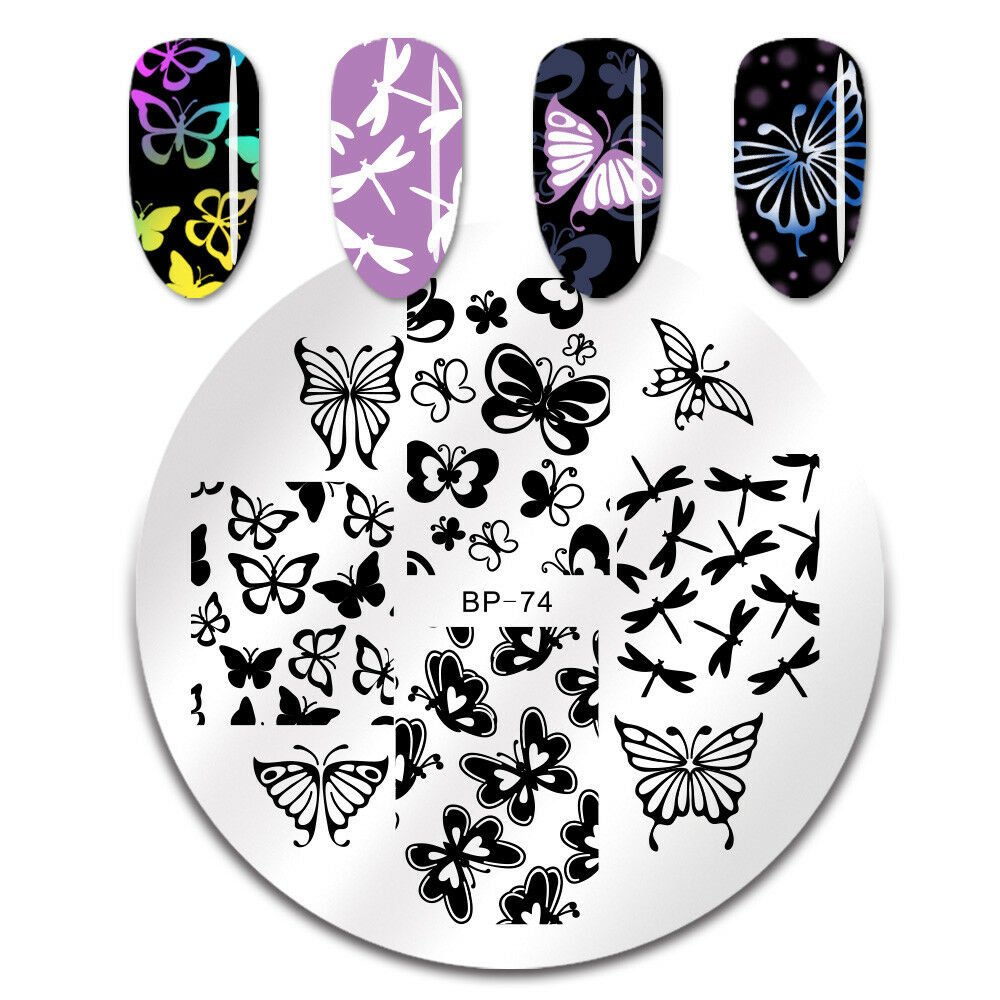 Details About BORN PRETTY Nail Art Stamping Image Plates Various Butterfly Stamp Template BP74