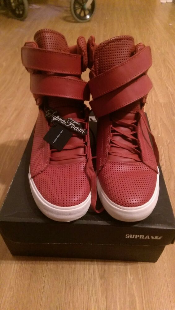 620caf7bcf9d Details about Supra Tk Society Red leather Perf  Mens US size 8.5 New in box