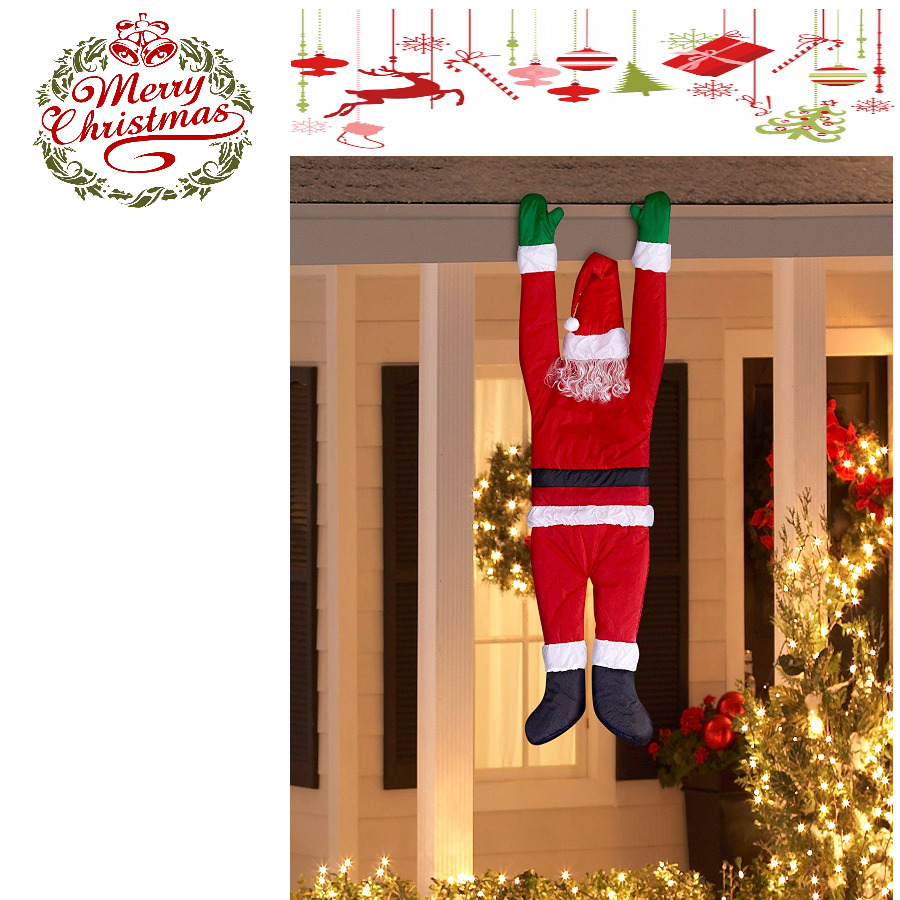 Funny Outdoor Christmas Decoration Santa Hanging Roof