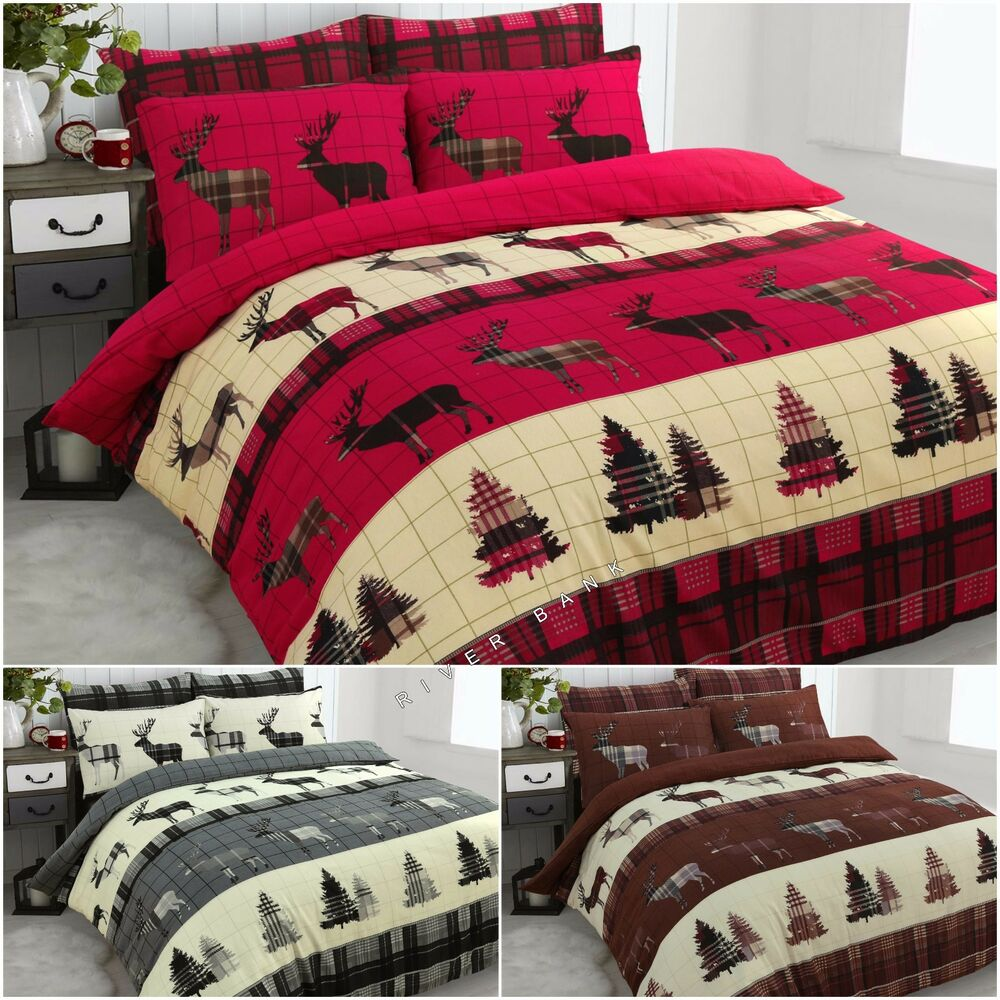 Stag Christmas Tartan Thermal Flannel Duvet Cover Set