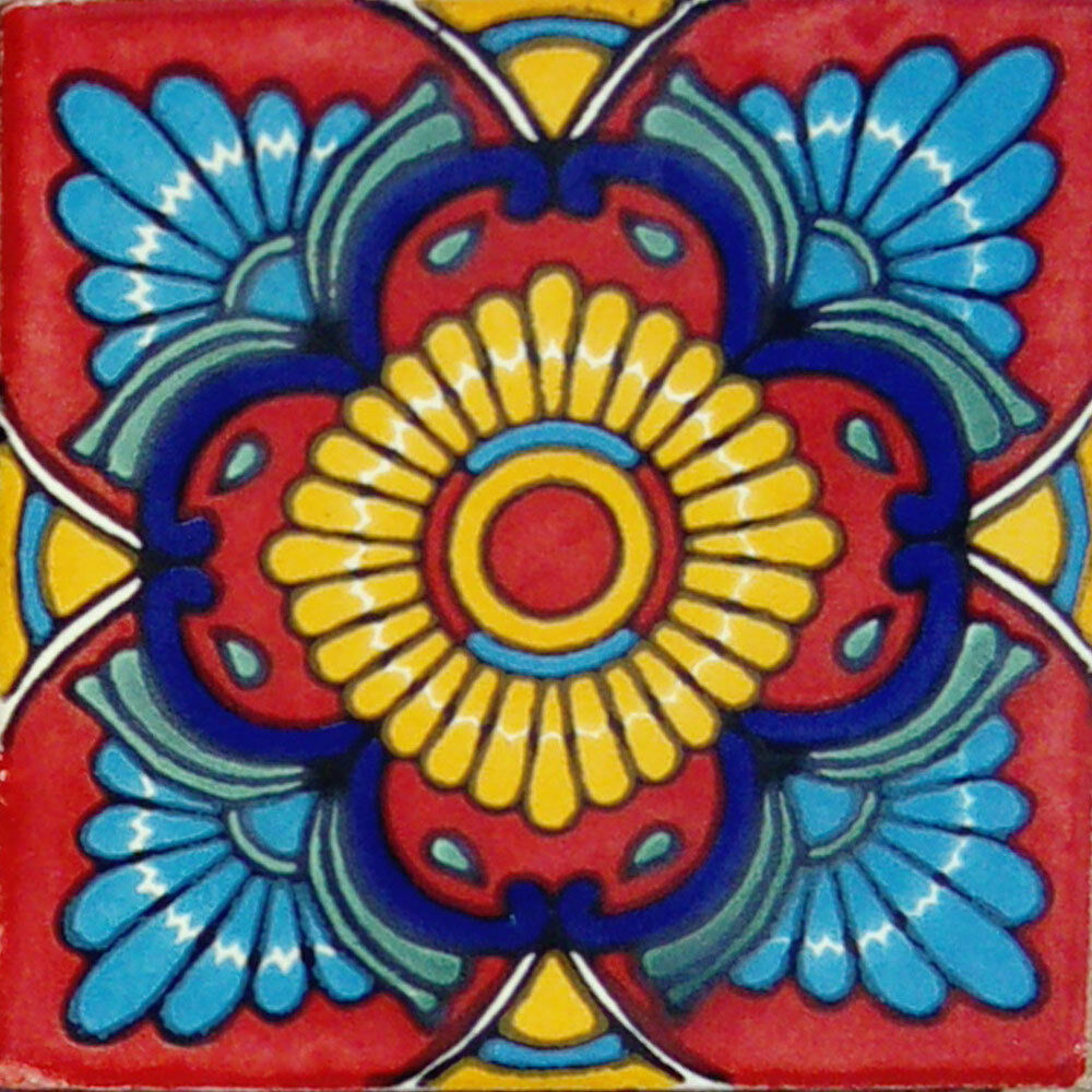C#076) MEXICAN TILES CERAMIC HAND MADE SPANISH INFLUENCE TALAVERA ...