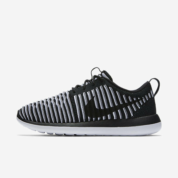 super popular 3b513 487ee Nike Roshe Two Flyknit Womens Shoes Black White Cool Grey 001 Multiple Sizes