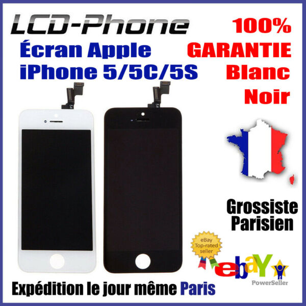 Ecran Complet iPhone 5/5C/5S LCD + Vitre Tactile Sur Chassis  - Grade AAA