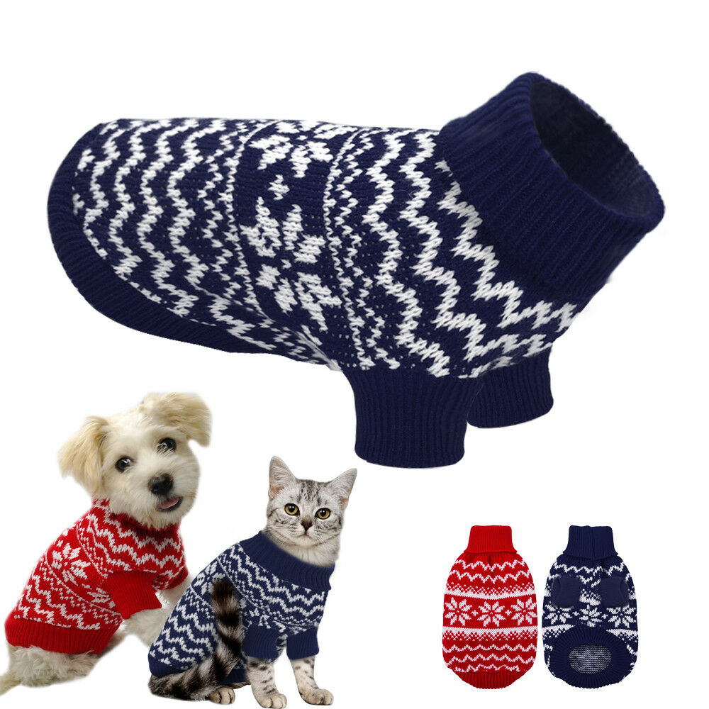 Small Dog Knitted Sweater Chihuahua Clothes Pet Puppy Cat POLO Neck ...
