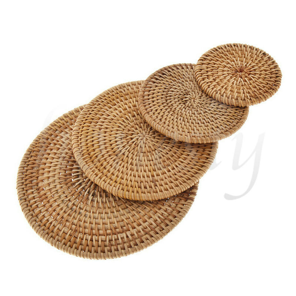 Vintage Rattan Weaving Coaster Placemat Cup Mats Pad Drink