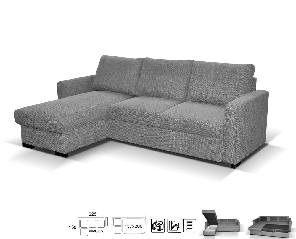 Superbe NEW LARGE UNIVERSAL CORNER SOFA BED GREY FABRIC RIGHT Or LEFT SIDE WITH  STORAGE