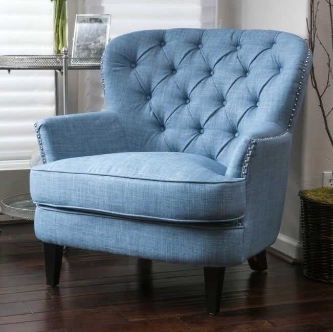 Details about Light Blue Tufted Wingback Accent Chair Wing Club Arm Chairs Nailhead Armchair & Light Blue Tufted Wingback Accent Chair Wing Club Arm Chairs ...