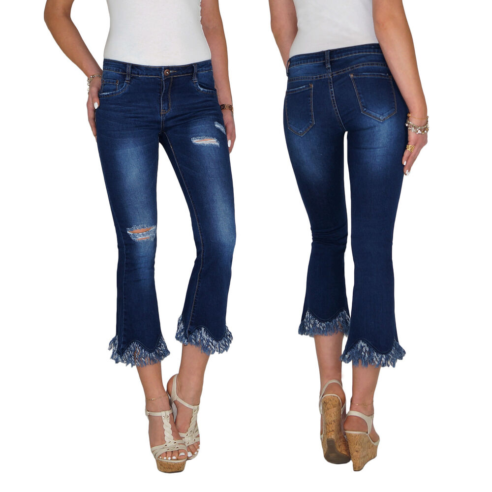 damen stretch 7 8 3 4 capri schlag bootcut sommer jeans hose fransen risse e150 ebay. Black Bedroom Furniture Sets. Home Design Ideas