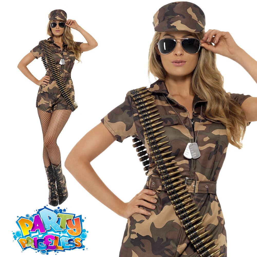 Ladies Army Girl Costume Sexy Camo Playsuit Soldier -1297