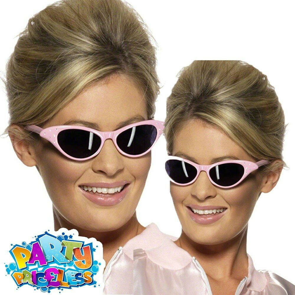 c6c2fe9012 Pink Ladies Sunglasses Grease Lady Frenchy Rizzo Sandy Womens Fancy Dress  New
