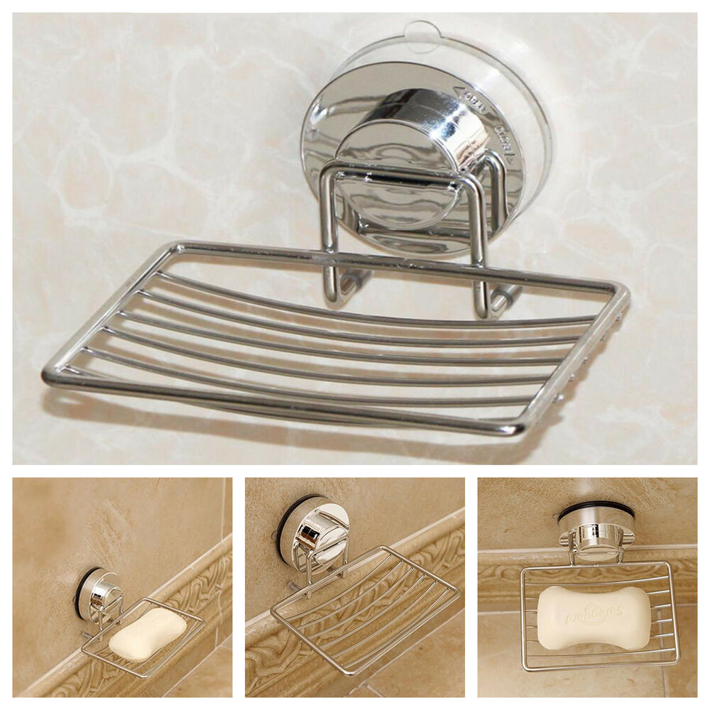 Metal Strong Suction Bathroom Shower Chrome Accessory Soap