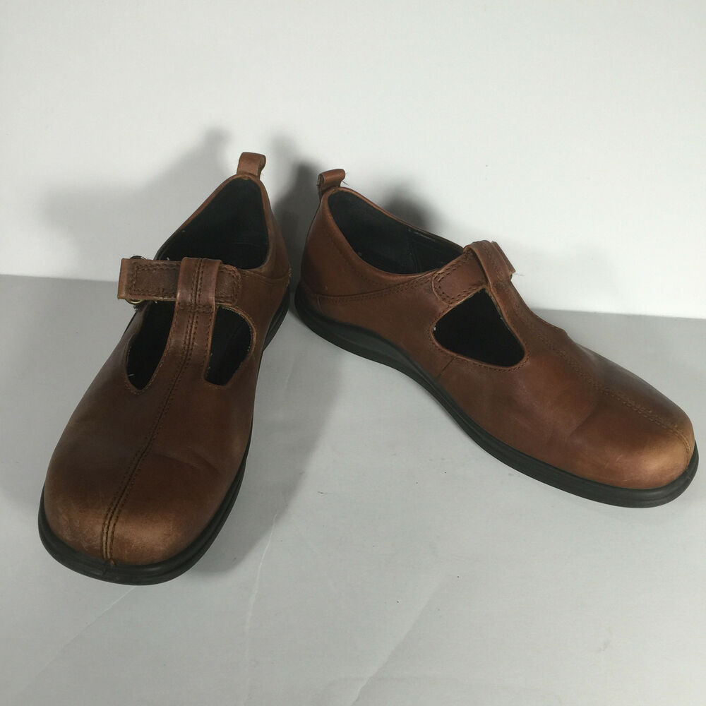 fb23c37742f6 Details about Womens Ecco Light Shock Point Comfort Brown Leather Shoes Sz  37 Strap