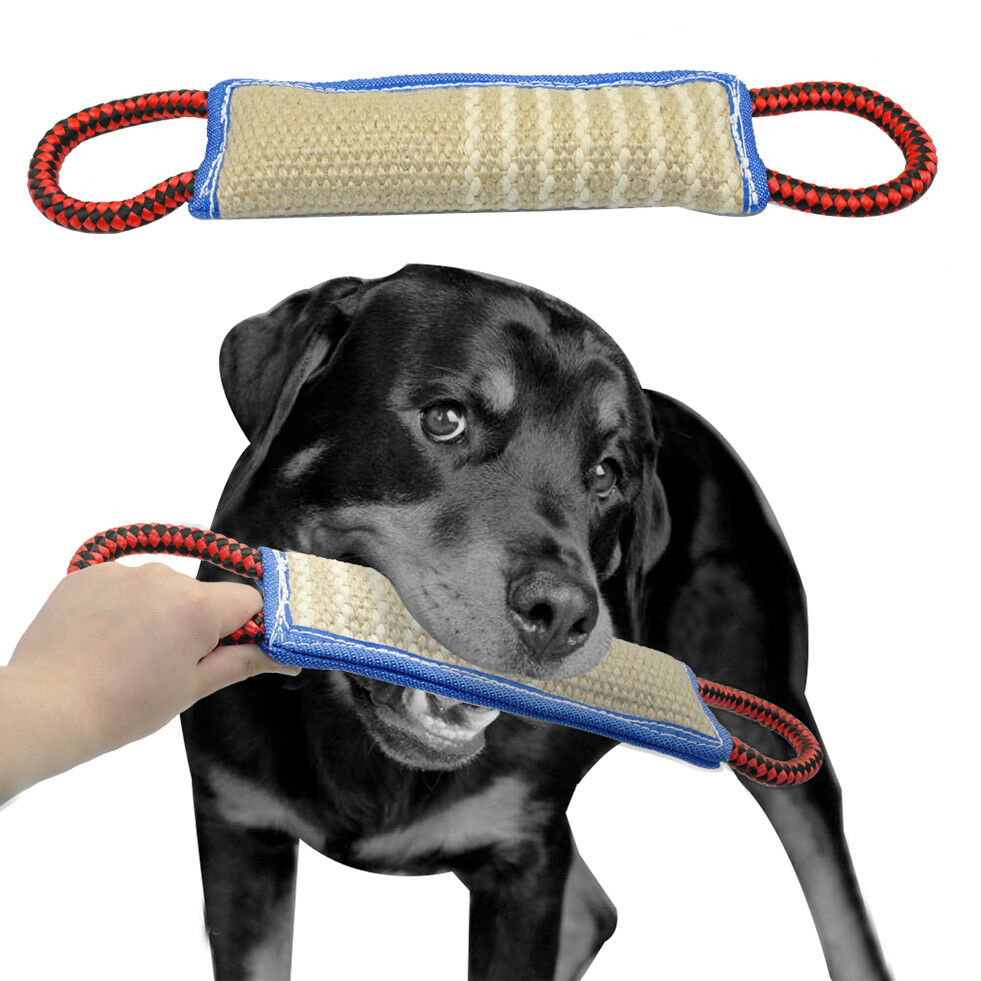 Durable Linen Pet Dog Bite Chew Tug Toys with 2 Handles for Police ...