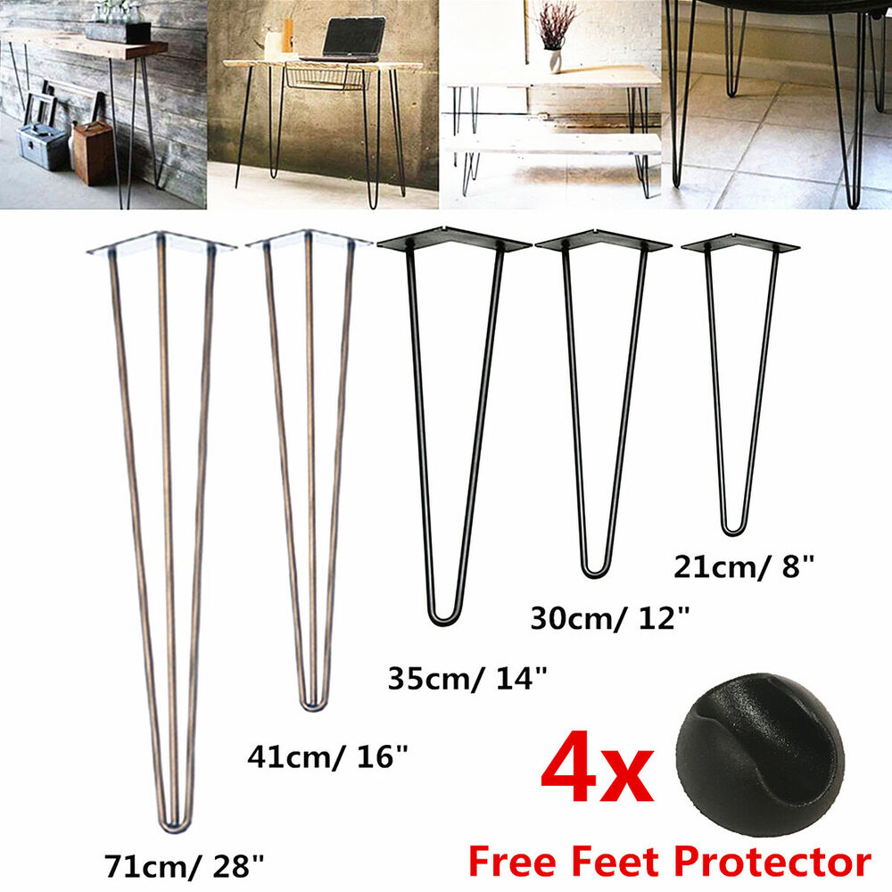 Diy 4x hairpin table legs 3 rod fully welded 12mm steel for One leg dining table
