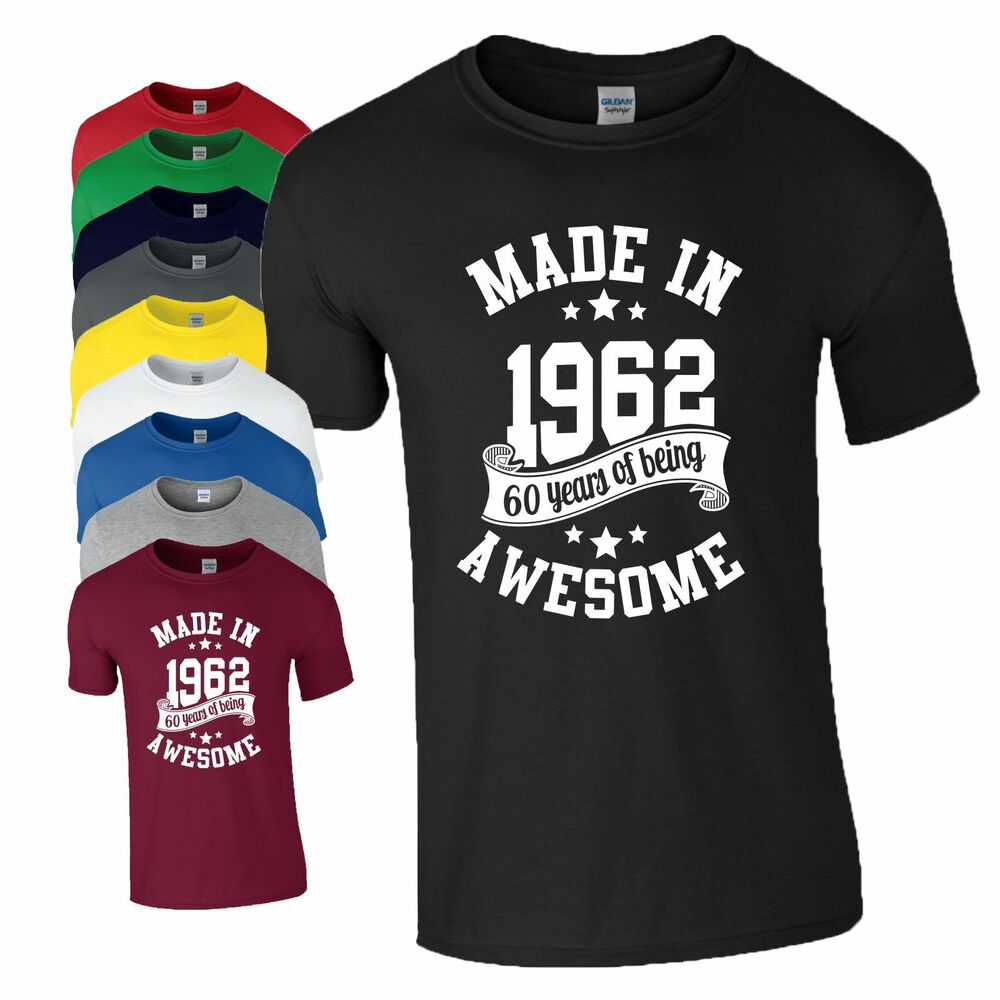 3311f4cbfb8 60th Birthday Gift T-Shirt Made in 1959 Age 60 Years Of Being Awesome Mens  Top