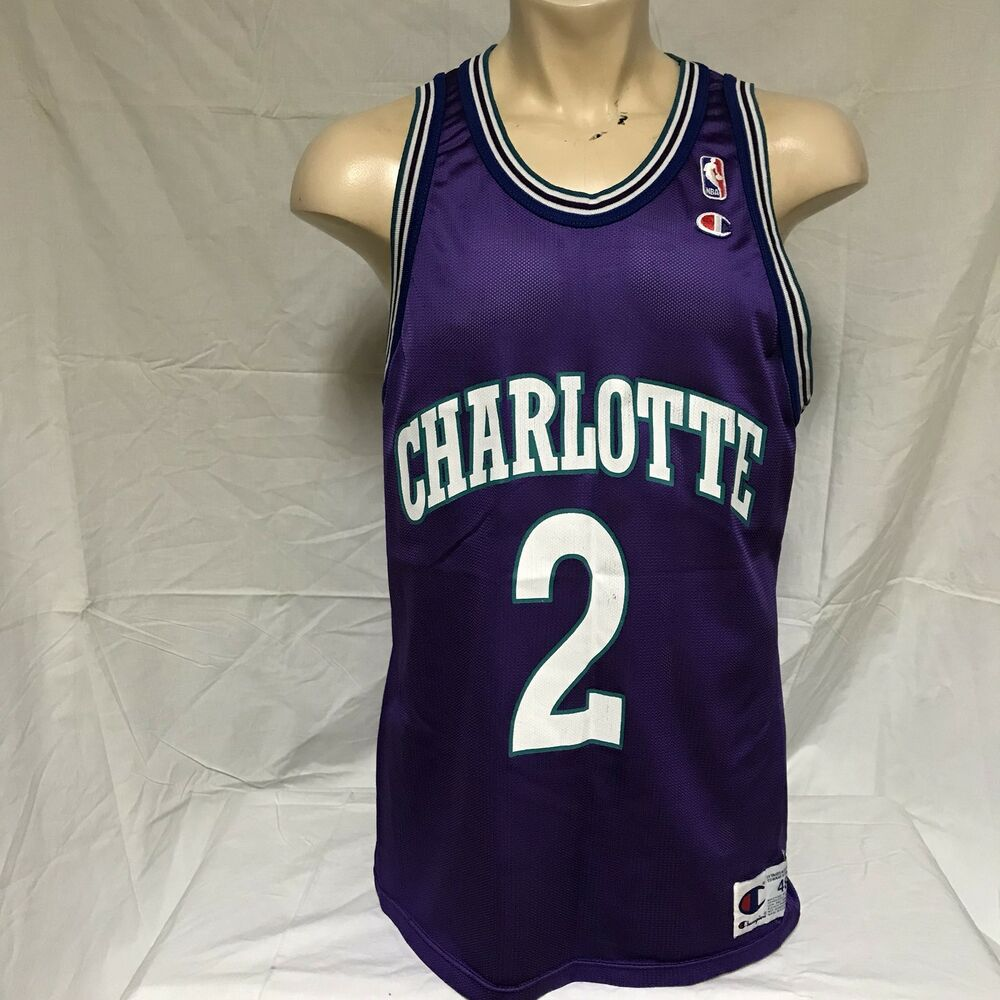 691b2656acd 24.95 5f288 a329b; low price details about vtg larry johnson charlotte  hornets champion jersey 90s purple nba throwback 48