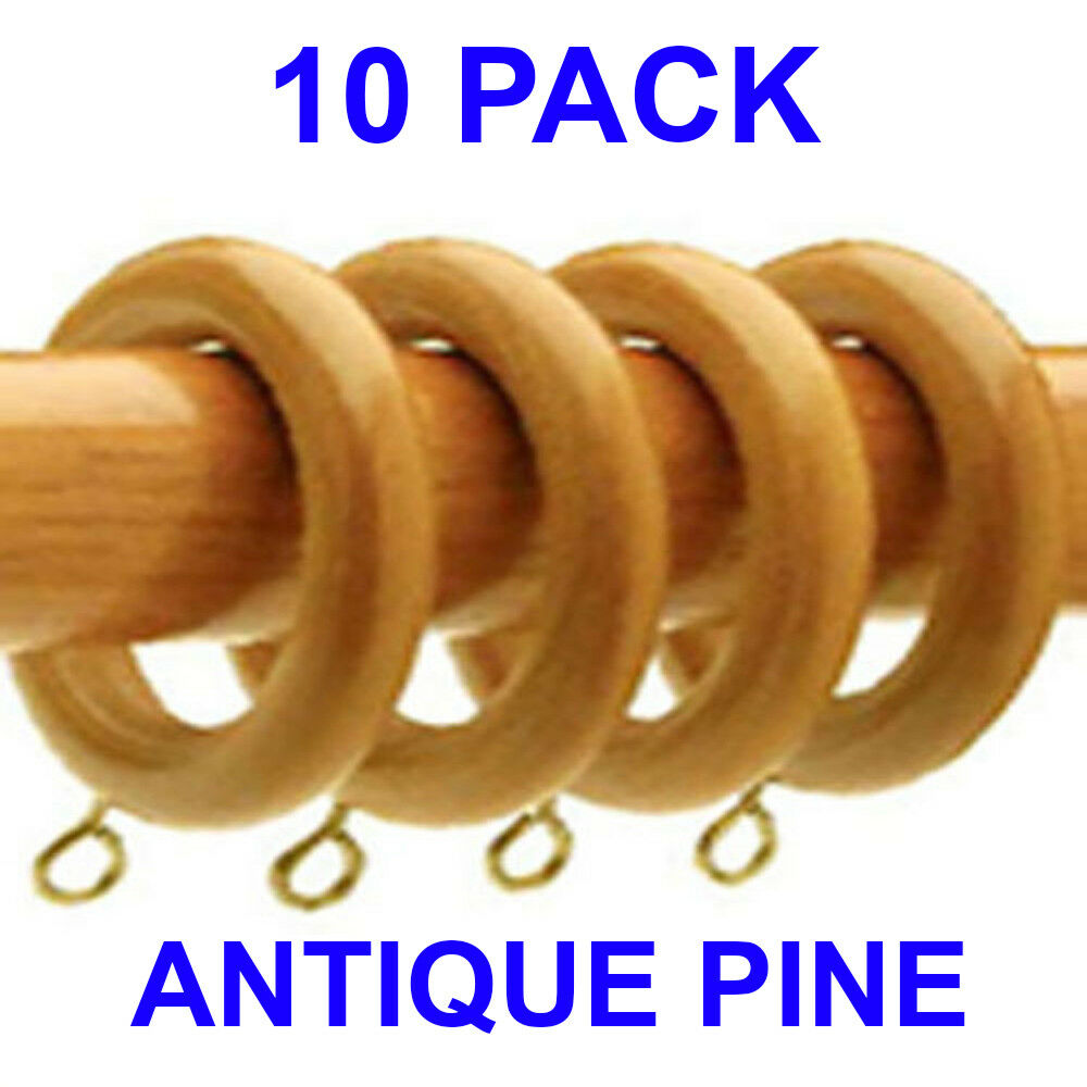 10 Pack ANTIQUE PINE Super Strong Curtain Rings To Fit
