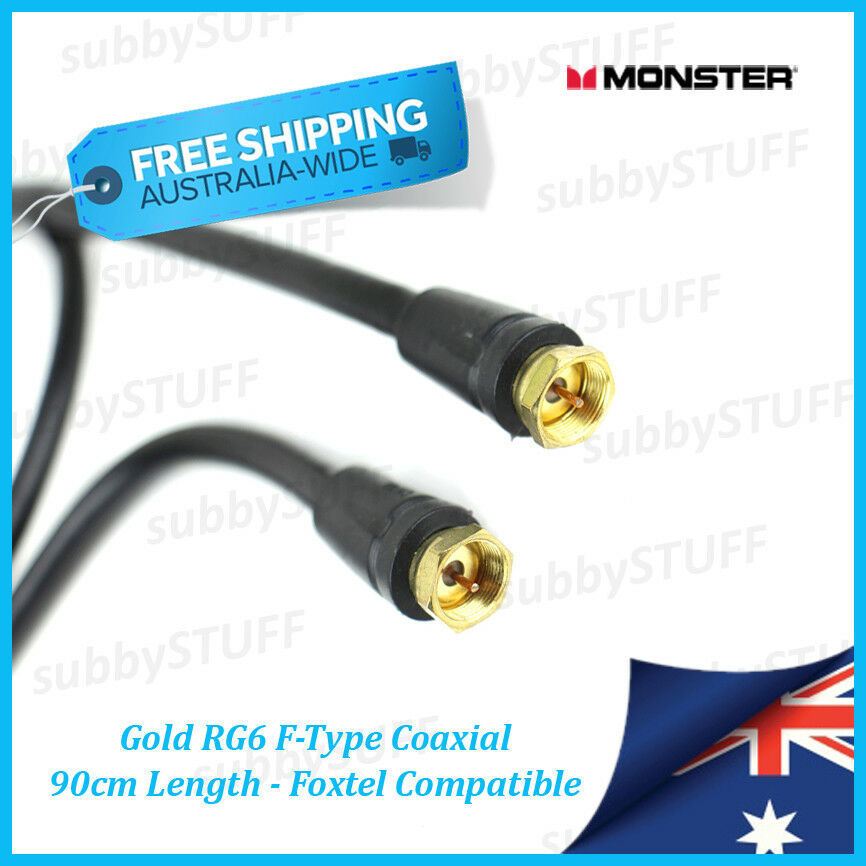 monster cable gold rg6 f type coaxial cable 09 mtr 3ft foxtel austar ebay