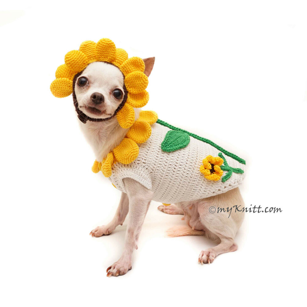 Sunflower Dog Sweater Funny Pet Costume Handmade Crochet F94 By