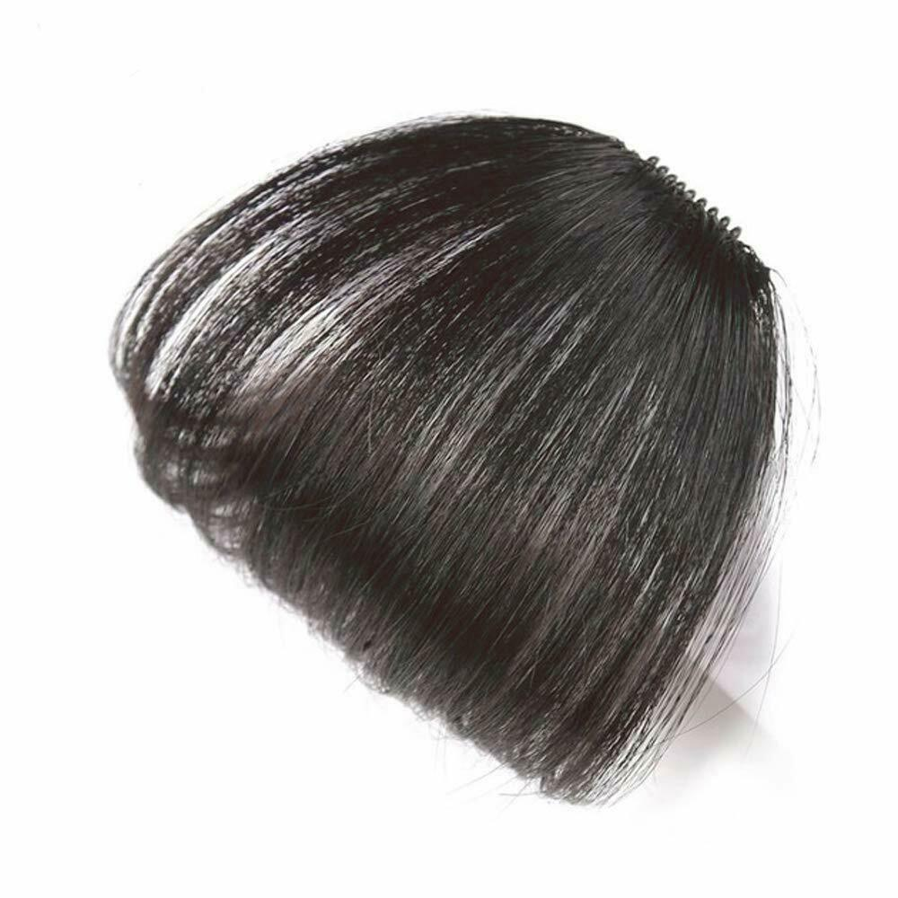 100 real human hair clip in fringe light breathable air bangs front