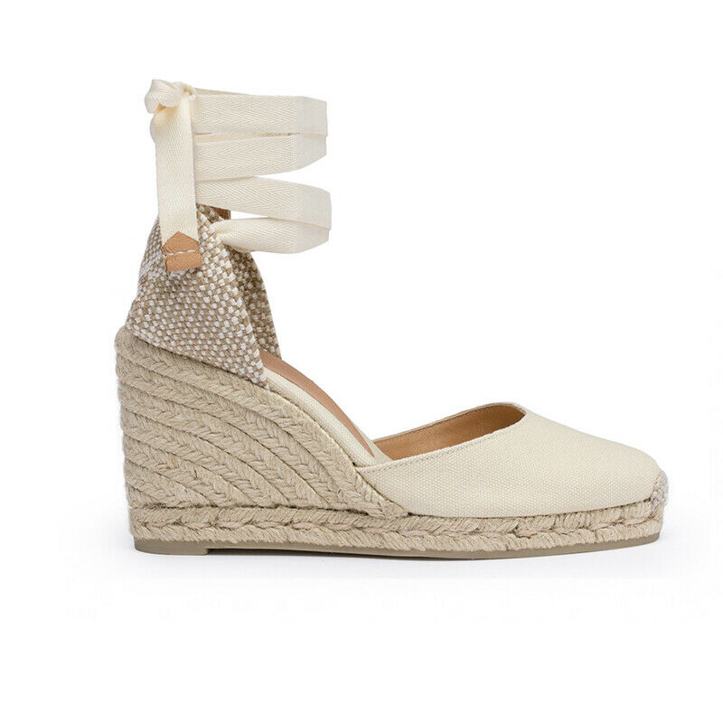 652b3a39107c Details about Castaner Women s Carina White Wedge Sandals Espadrilles  Canvas NEW All size