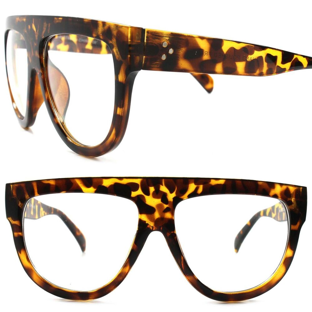 b15c3506d65 Details about Flat Top Swag 80s Hip Hop Rapper DJ Night Club Tortoise Clear  Lens Eye Glasses