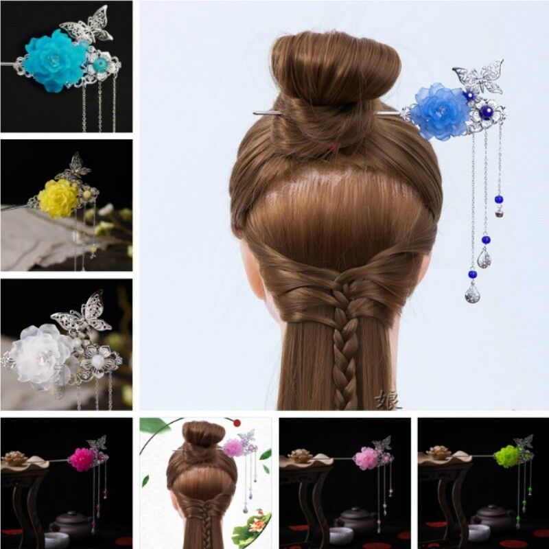 Hair Clasp Vintage Chinese Step Shake Flower Butterfly Pendant Stick