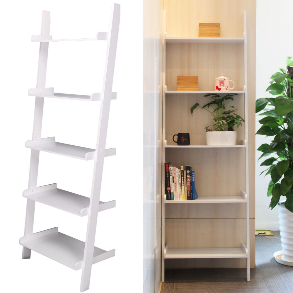 5 Tier White Ladder Wall Shelf Home Storage Display Unit Bookcase Stand Bathroom Ebay