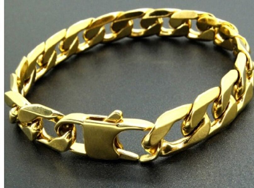 Thick Mens 20cm Stainless Steel Gold Curb Link Chain ...