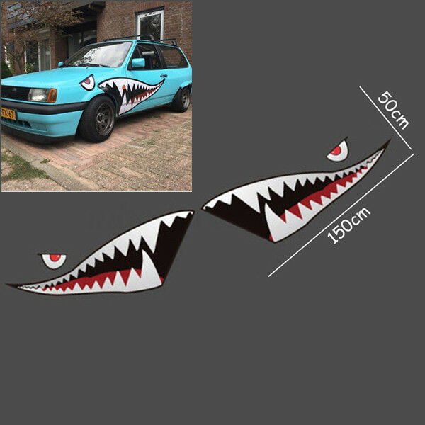 2pcs 59 Shark Mouth Teeth Graphics Vinyl For Car Sticker