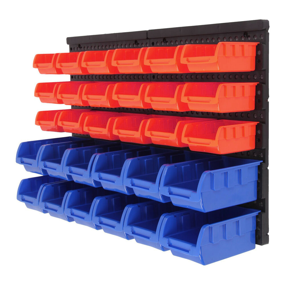 30 hole plastic bins wall mount storage garage tools small parts organizer rack 711005737579 ebay. Black Bedroom Furniture Sets. Home Design Ideas