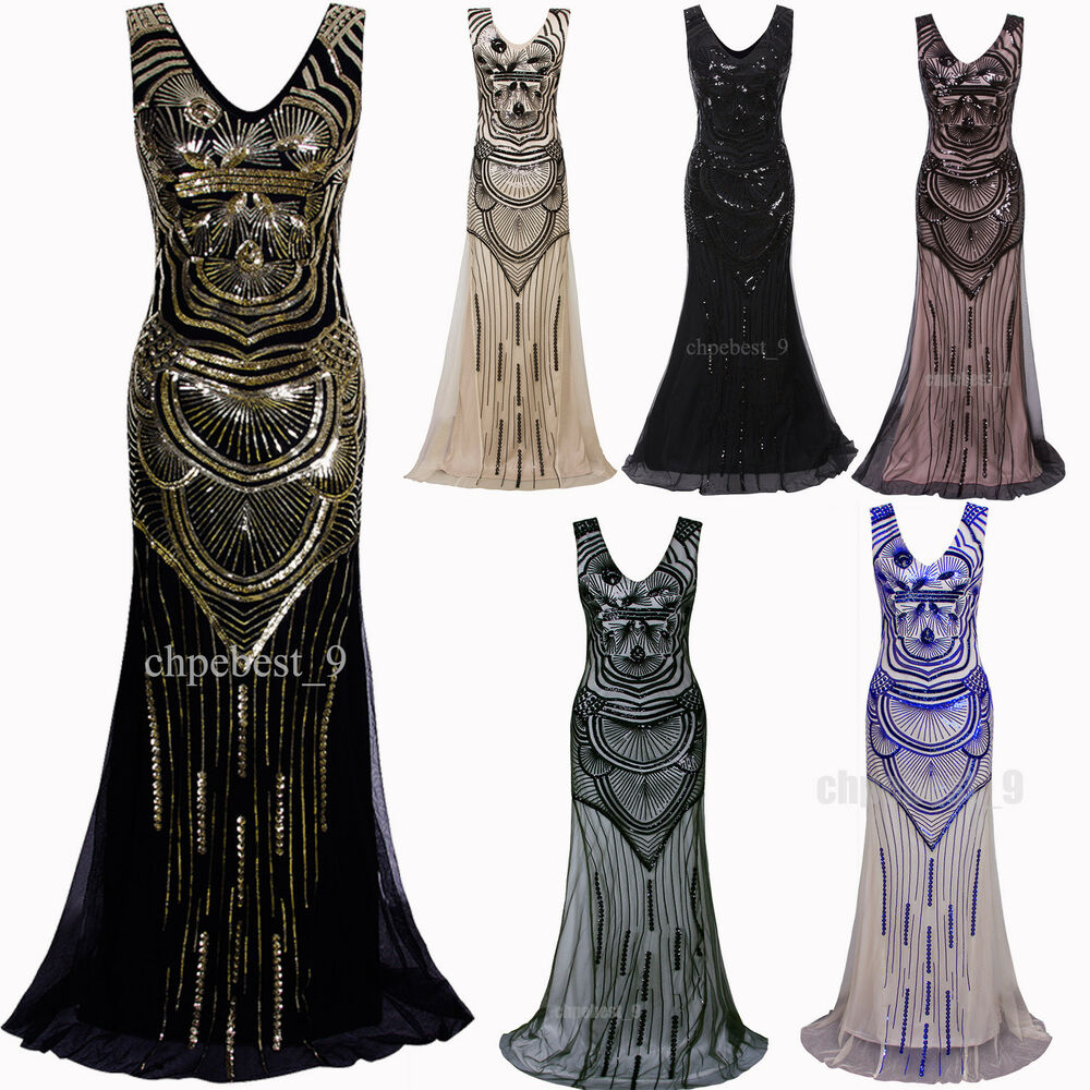 fd8324b970df8 Details about Ball Gown 1920s Flapper Dress Gatsby Party Wedding Evening  Dresses Plus Size XXL