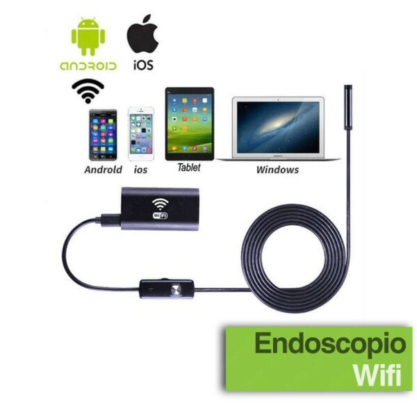 TELECAMERA ENDOSCOPICA WIFI PER ISPEZIONE ENDOSCOPIO IPHONE ANDROID 5 METRI