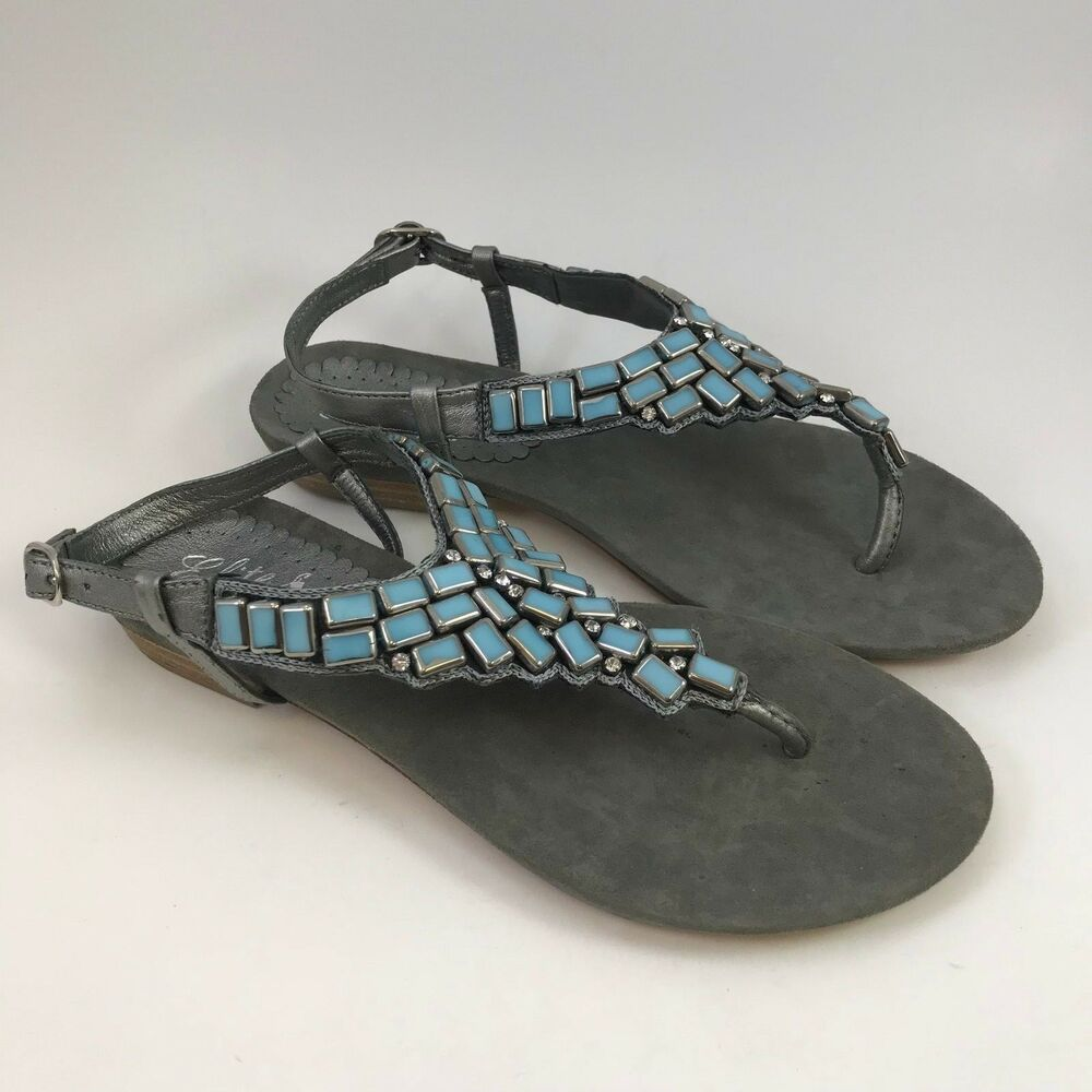 3258e2482837 Details about Corkys Elite St Michael Womens Sandals Gray Leather Turquoise  Rhinestone 9