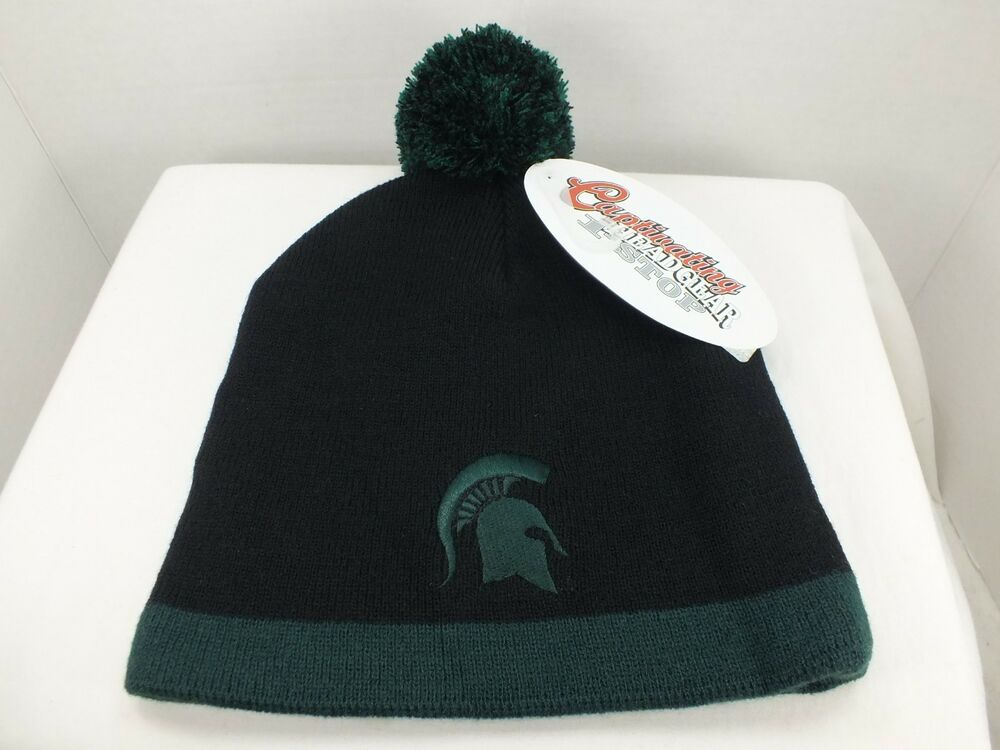 d762816c26d Michigan State Spartans Skull Knit Beanie Hat with Pom Top - College NEW  Adult