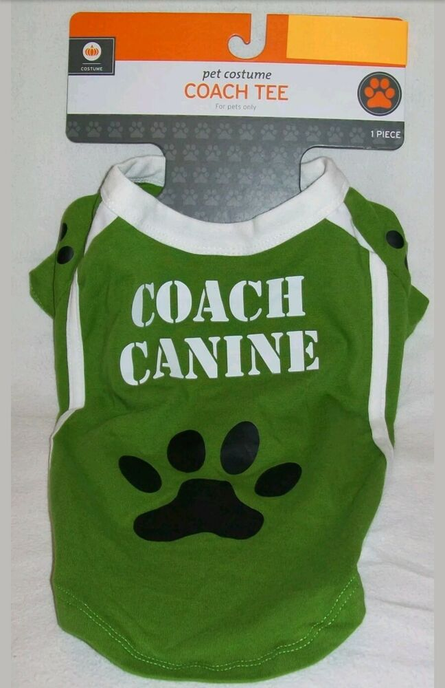 10d7c1c78 Details about Coach Canine S Tee T Shirt Green   White with Paw Print Pet  Dog Cat Small NEW