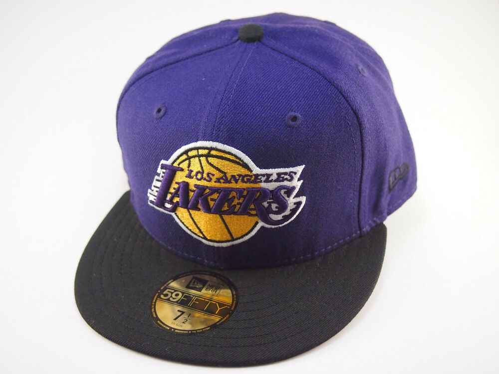 Details about LA Lakers New Era basketball cap NBA purple and black 59FIFTY  fitted hat caps 8498056664e