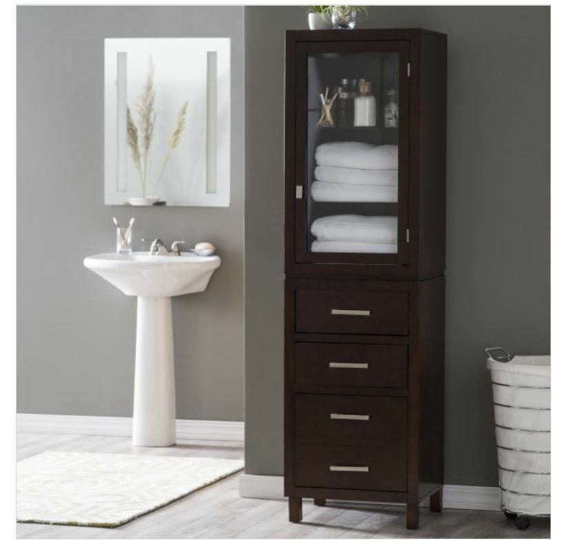 Tall Linen Cabinet Bathroom Glass Shelf Drawer Bath Towel Storage