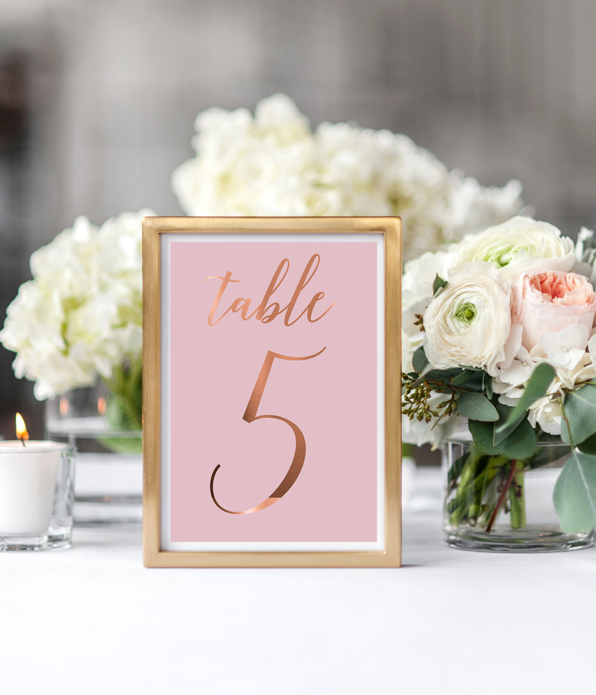 Wedding table numbers / copper and pink table signs / wedding ...