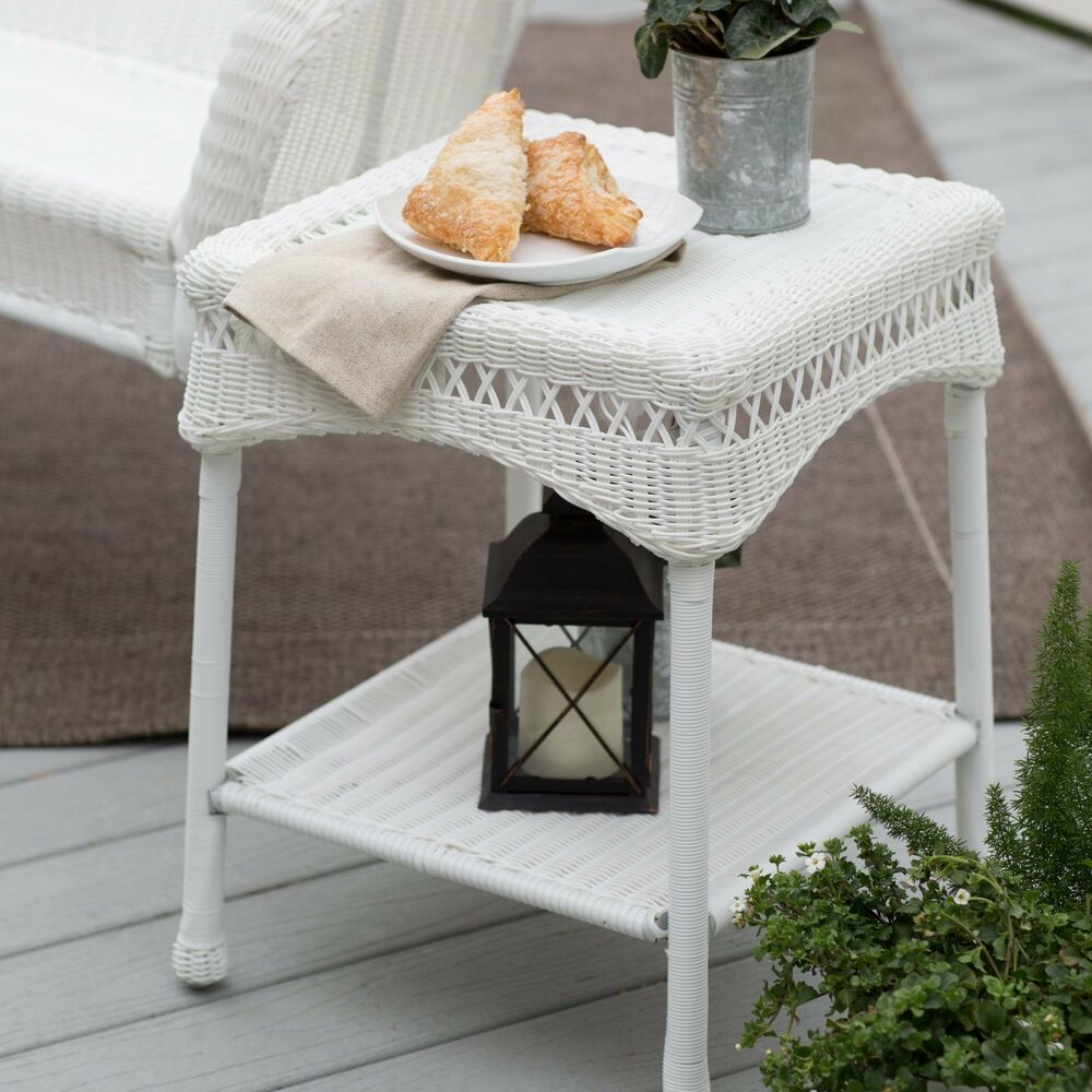 Details About South Bay Traditional White Wicker Patio End Table Side Outdoor Furniture