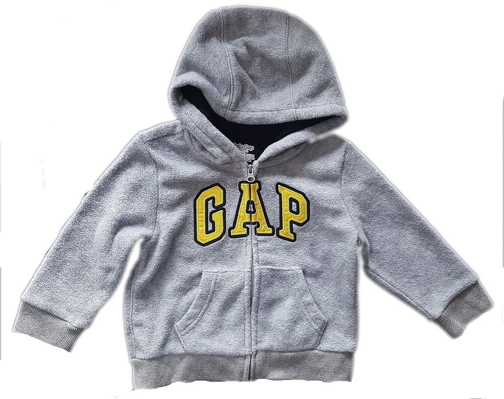 04f7fdcec Details about Baby GAP Boy Toddler GREY YELLOW Logo Hoodie Hooded Fleece  Jacket 3-24m £19.95