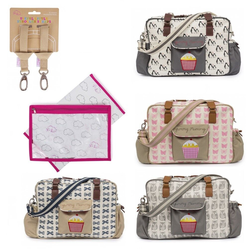 22be4907d9728 Details about Pink Lining Yummy Mummy Baby Changing Nappy Bag, Stroller  Straps & Changing Mat