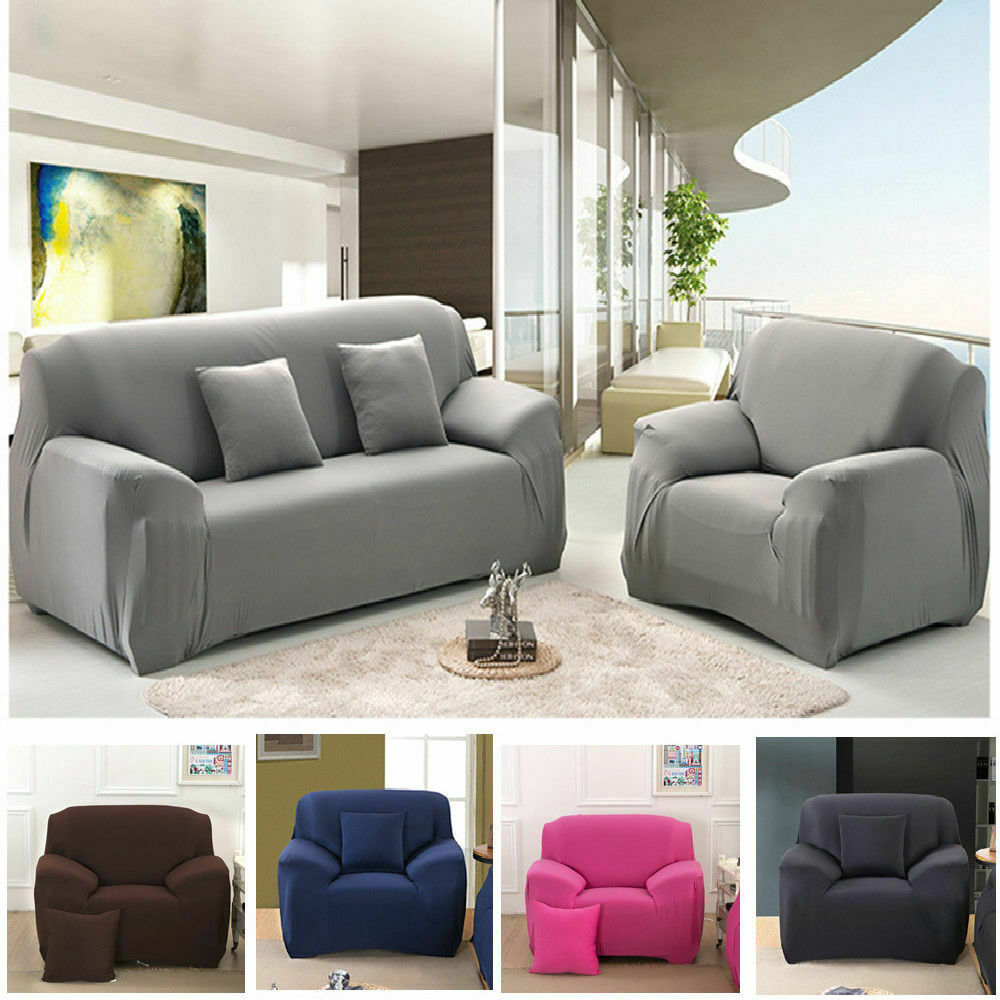 Solid Stretch Chair Sofa Cover 1 2 3 4 Seater Couch Elastic ...