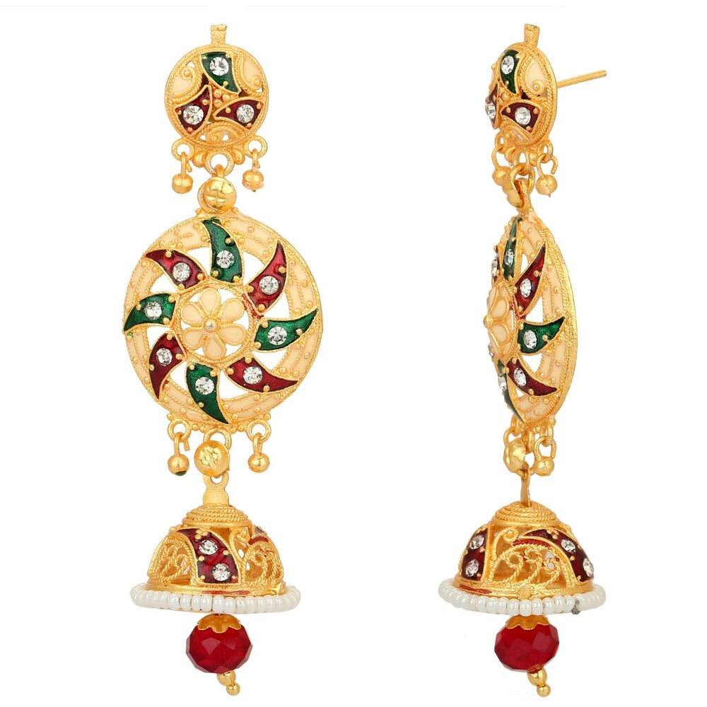 Details About Ethnic Indian Gold Plated Designer Bollywood Style Pearls Jhumka Jhumki Earrings
