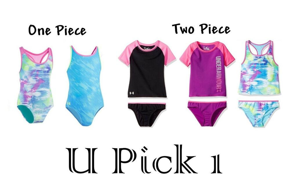 40ca8fbb41aae Details about Under Armour Swimsuit 1 or 2 Piece Set Tankini Girls Bottoms  Youth Racerback