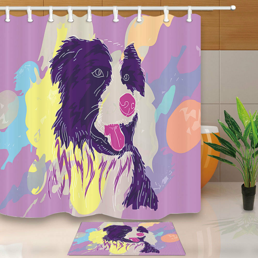 Details About Border Collie Dog Shower Curtain Home Bathroom Decor Fabric 12hooks 7171inch