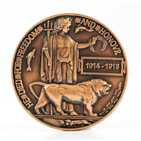 img-WW1 DEATH PLAQUE / DEAD MANS PENNY BRITISH MADE REMEMBRANCE BADGE