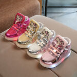 LE Hello Kitty Sneakers LED Light Lace Up Luminous Children Kids boy Girls Shoes