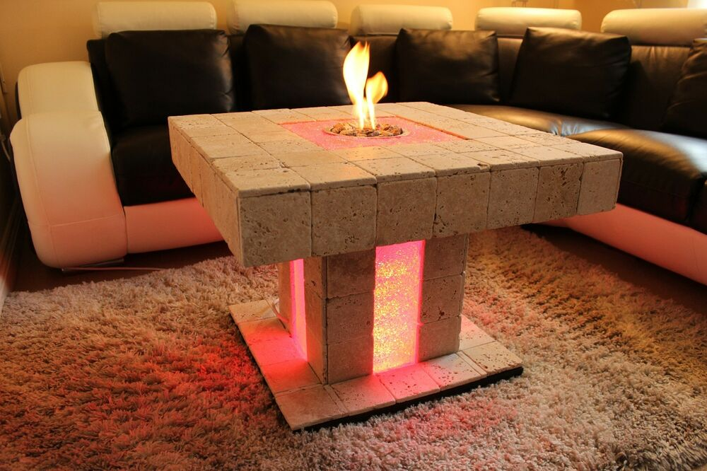 Solid Coffee Table Fire Pit Led Bio Ethanol Fireplace Burner Patio Heater Ebay