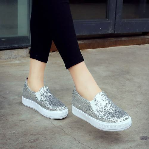 d848a2d04e4df4 Details about Womens Bling Bling Flats Slip On Fashion Sneakers Shinny  Casual Loafers Shoes